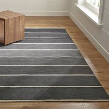 Crate And Barrel Bath Rugs Bold Graphite Wool Blend Striped Dhurrie Rug Crate And Barrel