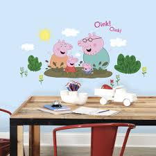 roommates peppa pig family muddy puddles giant peel and stick wall