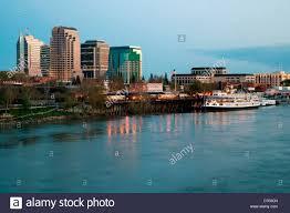 Sacramento City Flag Downtown Sacramento California Skyline From The Sacramento River