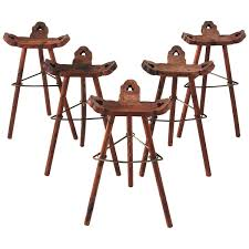 Solid Pine Set Of Five Spanish Bar Stools In Solid Pine For Sale At 1stdibs