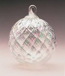 mt st helens volcanic ash blown glass ornament clear