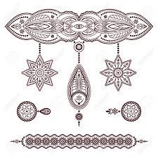 set of henna tattoo templates decorative doodle elements pendant