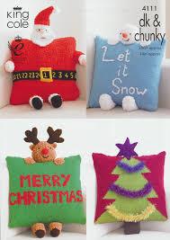 king cole dk u0026 chunky christmas cushion knitting pattern santa