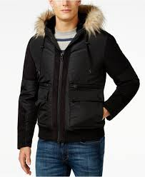 guess filmore faux fur hood puffer jacket in black for men lyst