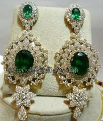 heavy diamond earrings diamond heavy earrings nd necklace jewellery designs