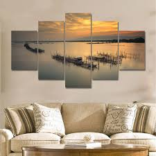 Art Decor Home by 5 Pieces Modern Sunrise Sunset Seascape Wall Art Large Canvas