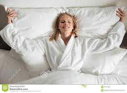 Big White Bed Pillows Young Happy Woman Lying On Big White Bed Stock Photo Image 94515984