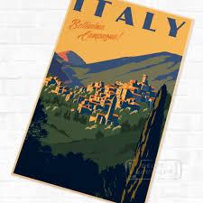 pop italy bellissima campagna travel vintage retro kraft poster