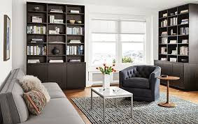 custom living room furniture keaton custom bookcases in charcoal stain modern living room