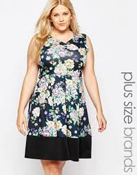 plus size skater dress in floral print with contrast hem by