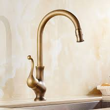 Saguache Antique Brass Single Handle Kitchen Sink Faucet Funitic - Brass kitchen sink