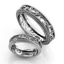 vintage filigree wedding bands vintage style silver wedding bands silver wedding ring set