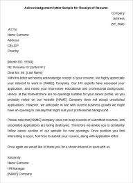 Example Of Cover Letter For A Resume by 33 Acknowledgement Letter Templates U2013 Free Samples Examples