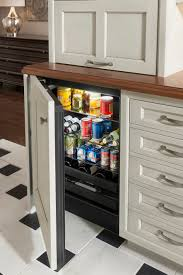 wet bar refrigerator panel by wood mode shown in vintage putty