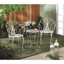 White Metal Patio Chairs White Metal Patio Set Peacock Outdoor Table Set Chairs 3 Pc Porch