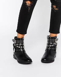 bike boots for sale asos agro leather studded biker boots in black lyst