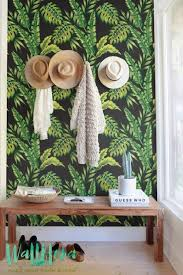 monstera and cyca leaves wallpaper removable wallpaper self
