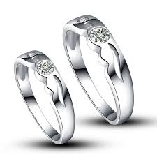 platinum bands rings images Platinum plated 925 sterling sivler with synthetic diamond couple jpg