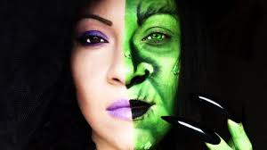 halloween tutorial half witch face youtube