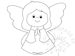 cute angel praying coloring page