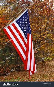 Outside Flag Vertical Hanging American Flag Outside Against Stock Photo