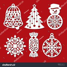 set christmas decoration bell xmas tree stock vector 746861101