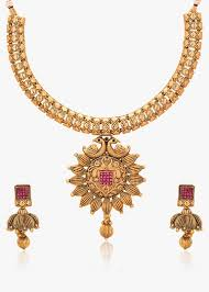 new gold set adwitiya 24k gold plated designer pearl ruby studded pokhraj