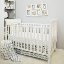 Infant Crib Bedding Classics Blue Gray Chevron 3 Baby Crib Bedding Set