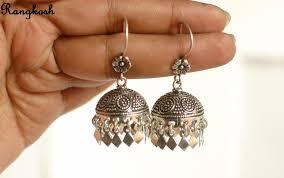 jhumkas earrings ethnic pattern jhumka earrings silver oxidized flower dangler