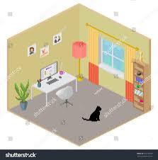House Design Freelance by Isometric Pixel Art Style Room Freelance Stock Illustration