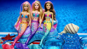 mermaids barbie dolls color changing hair water play toys youtube