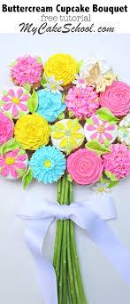 cupcake flowers bouquet of cupcakes tutorial mycakeschool my cake school
