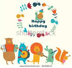 birthday card cute hippo bird sheep stock vector 286870703