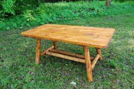 Indoor Picnic Table 6 U0027 Cedar Log Picnic Table W O Benches Cabin Style Rustic