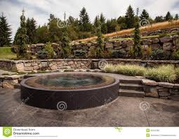 modern backyard design with custom tub stock photos image