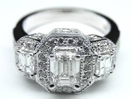 vintage emerald cut engagement rings engagement ring vintage style three emerald cut diamond