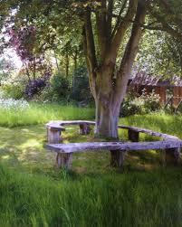 rustic tree bench garden ideas pinterest tree bench gardens
