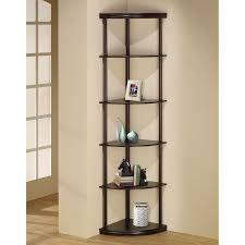 corner bookcase with doors furniture of america corner 5 shelf display stand bookshelf