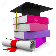 graduation books graduation cup with colorful books and diploma stock photo
