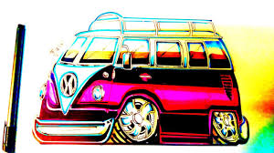 volkswagen bus drawing how to draw a cartoon vw van youtube