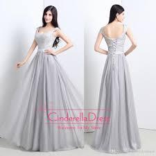 light gray long dress light gray cap sleeves chiffon cheap 2015 long bridesmaid dresses