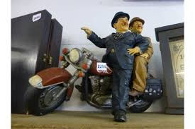 laurel and hardy on motorbike ornament