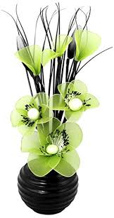 flourish 704506 813 black vase with lime green artificial