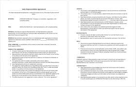 sales representative agreement template microsoft word templates