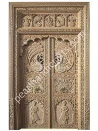 peacocks design wooden double doors for home