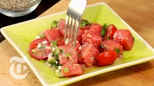 watermelon and tomato salad the new york times youtube