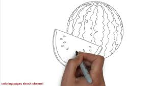 how to draw watermelon coloring page fruit drawing videos for kids