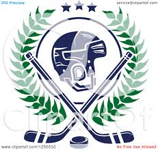 clipart of a helmet with crossed ice hockey sticks and a puck in a