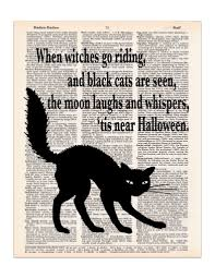 halloween black cat poem dictionary print dictionary art gothic
