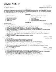 sample resume for law enforcement security officers resume sample